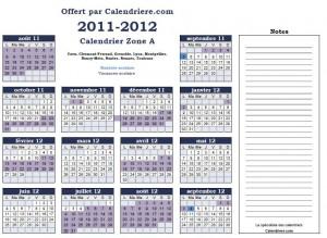 Calendrier scolaire 2011 2012 gratuit et à imprimer en pdf zone A