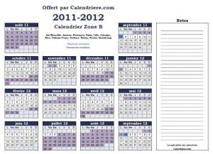 Calendrier scolaire 2011 2012 gratuit et à imprimer en pdf zone B