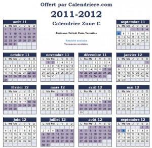 Calendrier scolaire 2011 2012 gratuit et à imprimer en pdf zone C