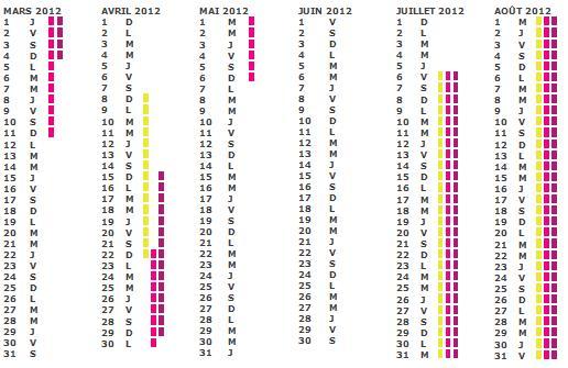 Calendrier Vacances : gratuit pour 2011 2012 2013