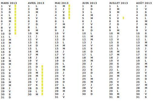 Calendrier Scolaire : gratuit pour 2011 2012 2013