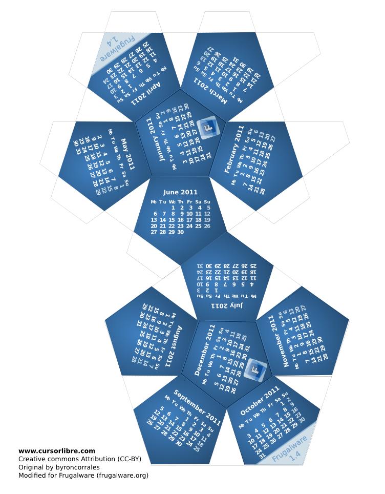 lien du calendrier pliage papier 2011 afin de l'imprimer