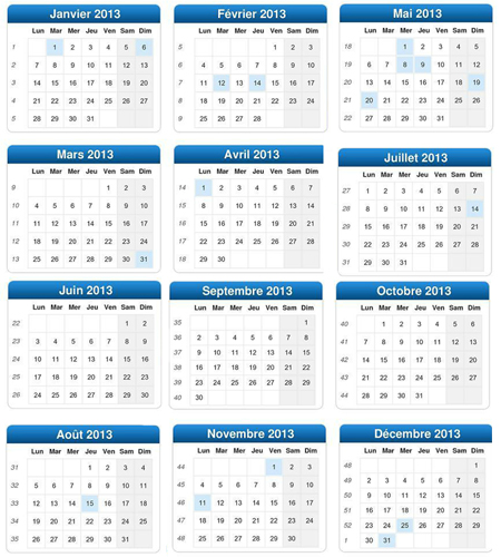 Calendrier 2013 Semaines