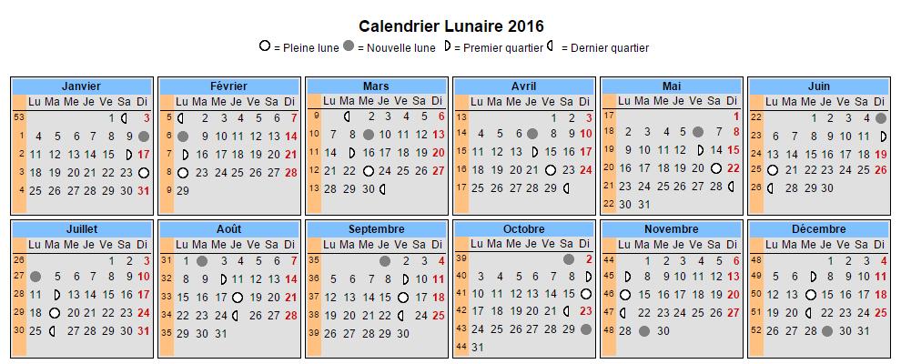 Calendrier lunaire 2016